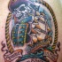 Dead pirate and old ship tattoo